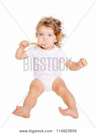 Baby Kid Brushing Teeth. Dental Hygiene.