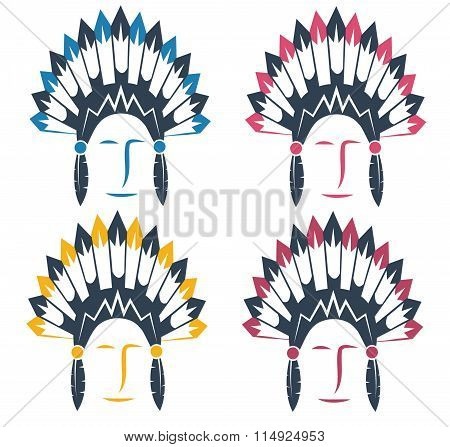Native American Chief Man In Tribal Headdress