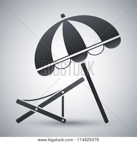Vector Beach Umbrella And Deck Chair Icon