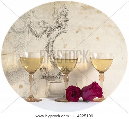 three glasses of white wine with rose on the decorative background