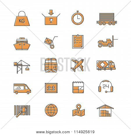 Logistic Vector Icons. Line Icons.