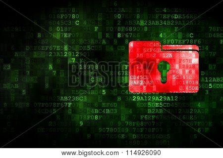 Finance concept: Folder With Keyhole on digital background