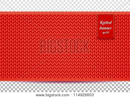 Red knitted banner