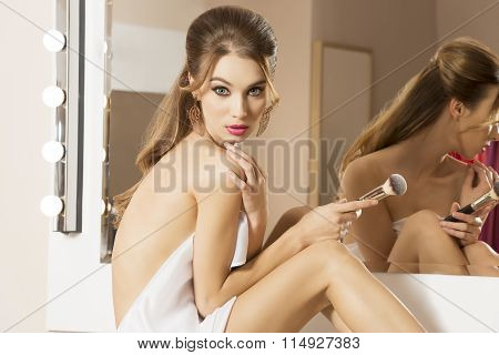Woman Take Care Of Her Near Mirror