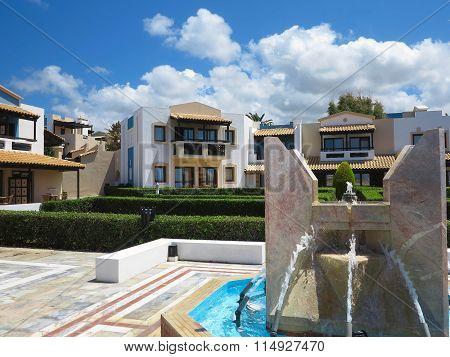 23.06.2015, Crete, Greece. Luxury View Of Greek Village On Crete Tropical Minoan Style Architecture