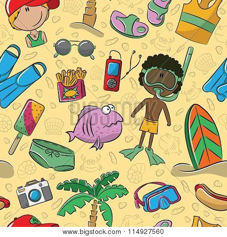 Summer Beach Seamless Pattern