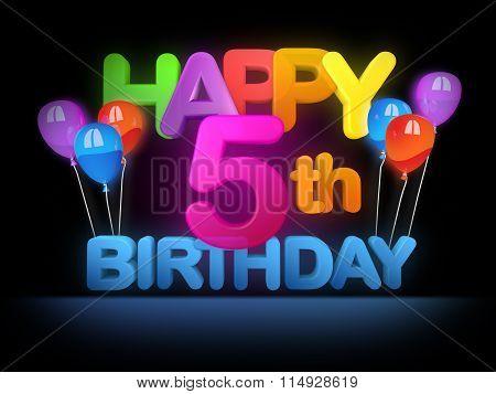 Happy 5Th Birthday Title Dark