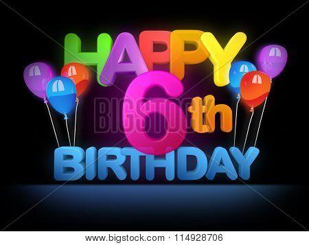Happy 6Th Birthday Title Dark