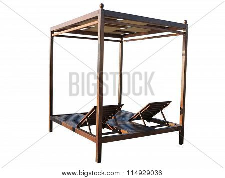 Luxury Wooden Brown Sunbed Isolated Over White.