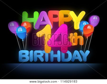 Happy 14Th Birthday Title Dark