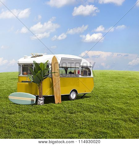 Yellow Food Truck Caravan On Grass Field