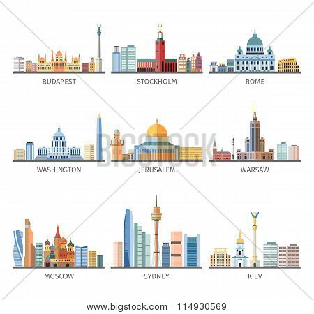 World Famous Cityscapes Flat Icons Collection