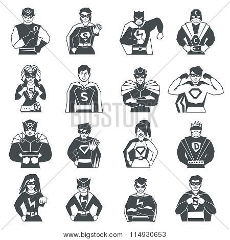 Superhero Black White Icons Set