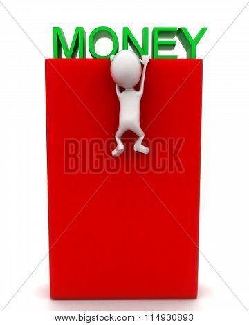 3D Man Climbing Up A Box To Reach Money Text Concept