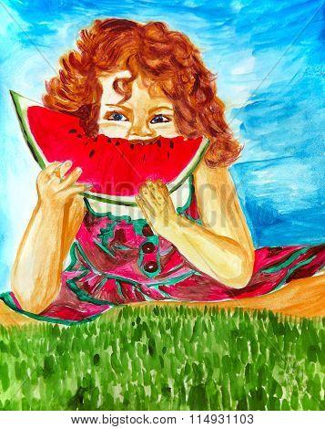 Cute Little Girl Eating Watermelon, Hand Drawn Artwork