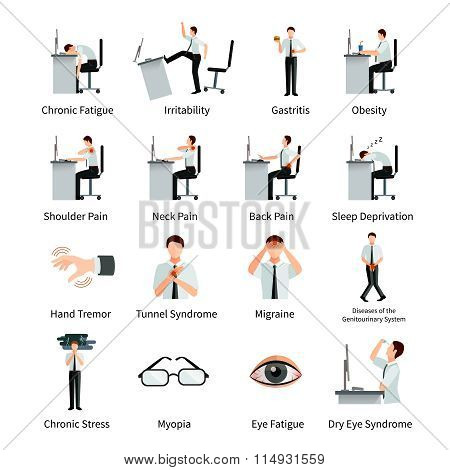 Office Syndrome Flat Icons Set