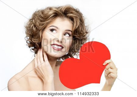 beauty portrait of attractive young caucasian smiling  woman isolated on white studio shot red heart valentine's love