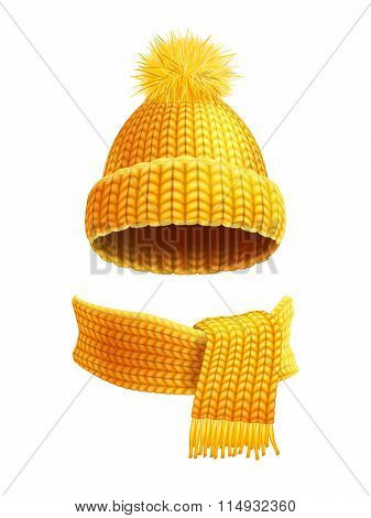 Knitted Hat And Scarf Flat Illustration