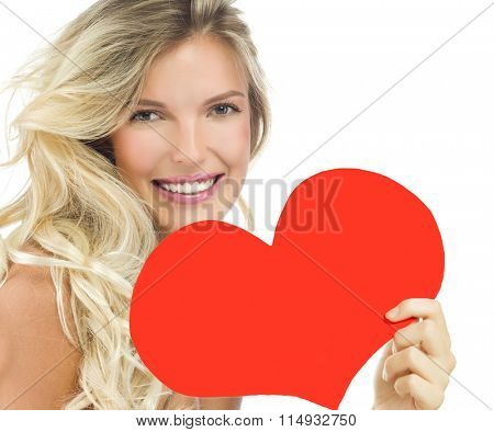 portrait of attractive  caucasian smiling woman blond isolated on white studio shot  lips toothy smile face long hair head and shoulders looking at camera red heart valentine's love