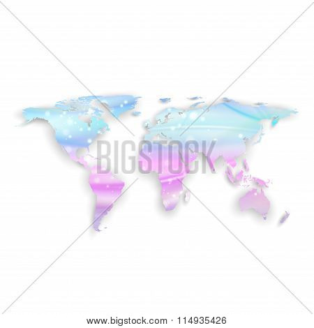 Beautiful world map with shadow on white background, vector illustration