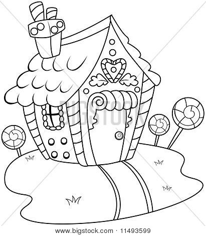 Line Art Gingerbread House