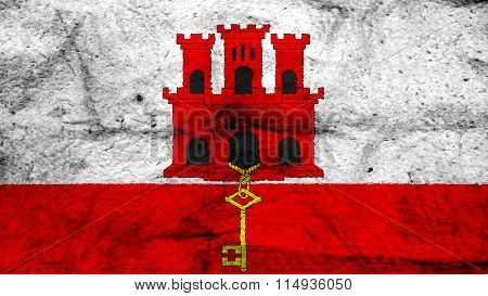 Flag of Gibraltar painted on wool