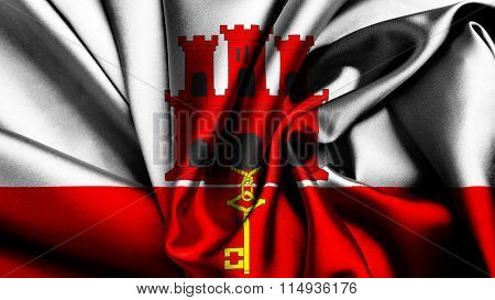 Flag of Gibraltar painted on silk material