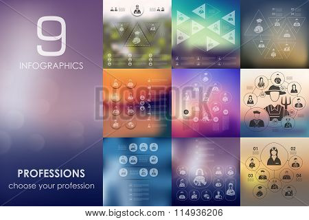 professions infographic with unfocused background