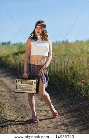 Beautiful Woman In The Summer Field