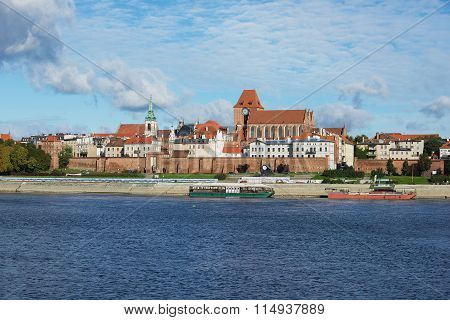 View to the old town of Torun from across the Vistula river in Torun, Poland.