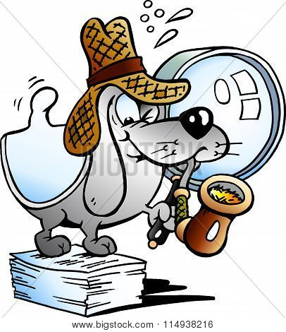 Vector Illustration Of A Paper Dog Detective Mascot