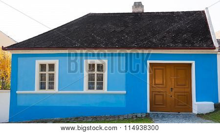 Cute Blue Colored Traditional House