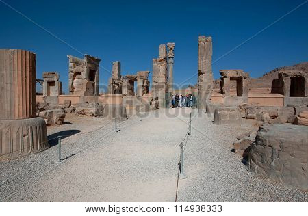 Ruined City And Stone Columns In Persepolis. Unesco World Heritage Site.