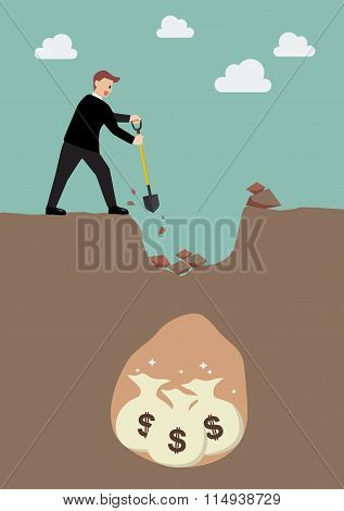 Businessman Digging A Ground To Find A Treasure