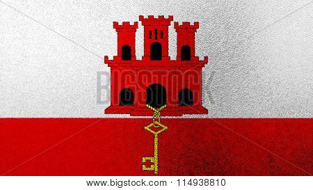 Flag of Gibraltar painted on glass texture