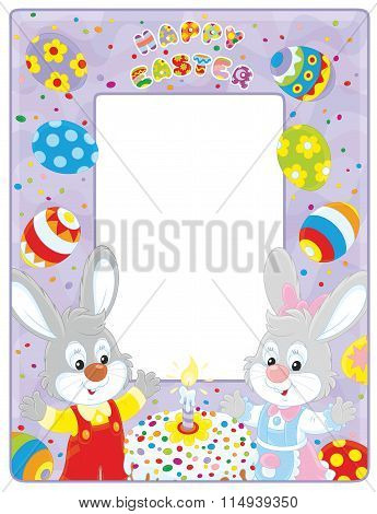 Easter border with bunnies
