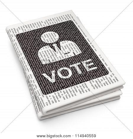 Politics concept: Ballot on Newspaper background