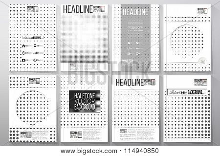 Set of business templates for brochure, flyer or booklet. Halftone vector background. Black dots on