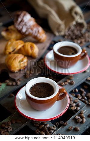 Coffee espresso with Italian traditional baking
