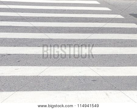Pedestrian Crossing On The Carriageway Road