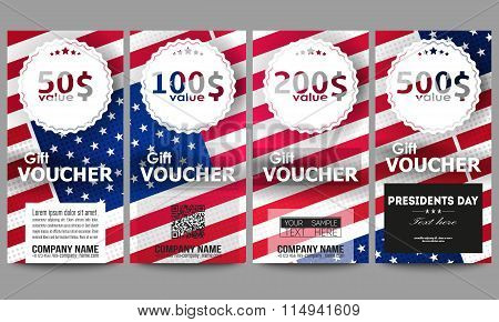 Set of modern gift voucher templates. Presidents day background with american flag, abstract vector