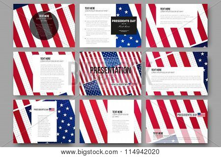 Set of 9 templates for presentation slides. Presidents day background with american flag, abstract v