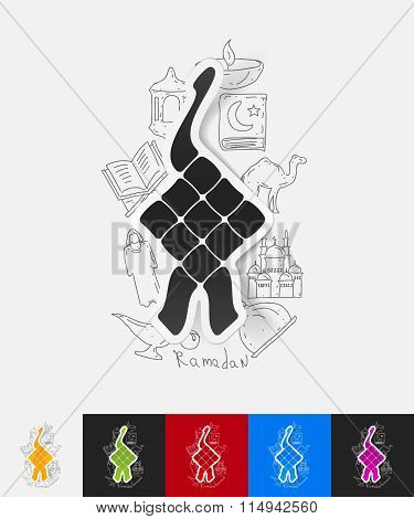 ketupat paper sticker with hand drawn elements