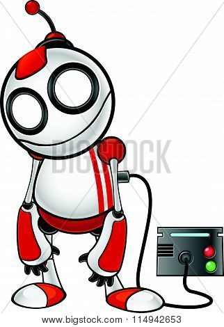 Red And White Robot Character