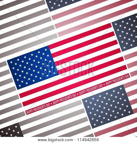 Presidents day background, abstract poster with american flag, vector illustration