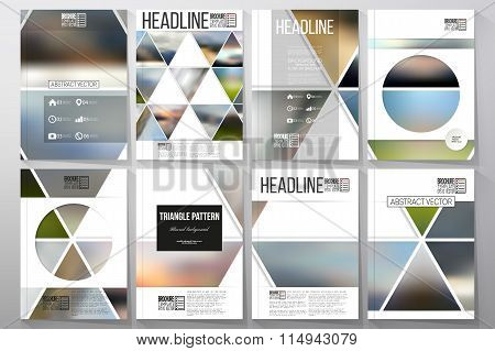 Business templates for brochure, flyer or booklet. Abstract multicolored background of blurred natur
