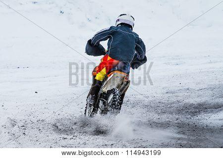 racer motorcycle race in winter
