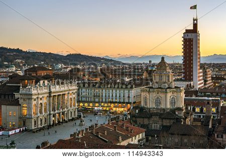 Turin (torino), View From The Cathedral Tower At Sunset
