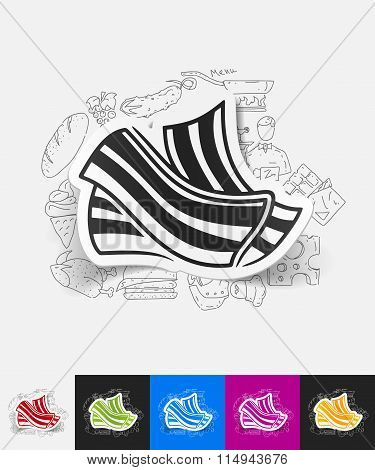 bacon paper sticker with hand drawn elements