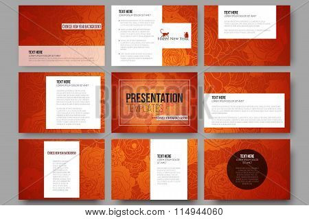 Set of 9 templates for presentation slides. Chinese new year background. Floral design with red monk